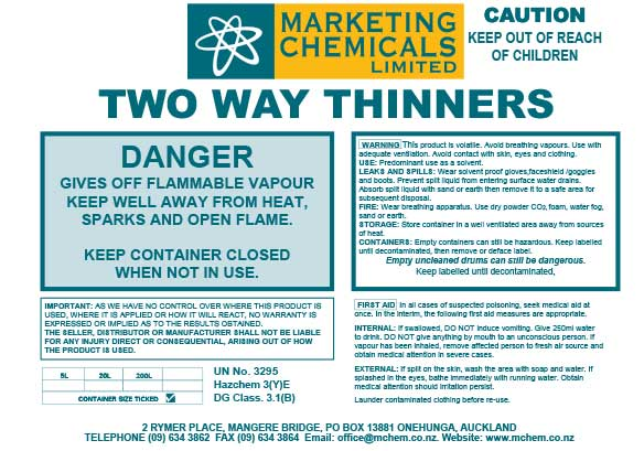 Buy TWO WAY THINNERS NO 1 - 20 LITRES | Cleaning Chemicals and&